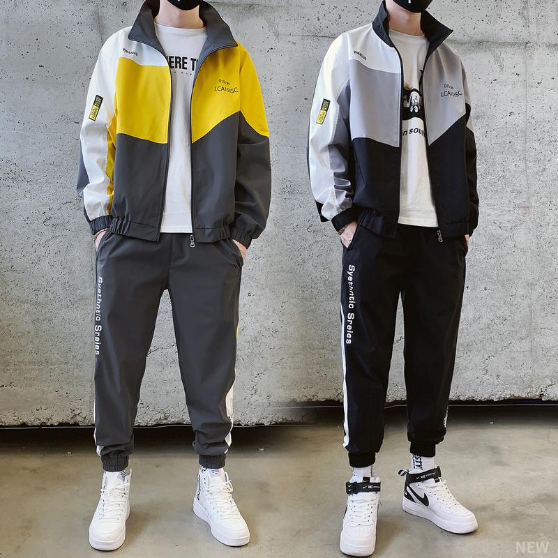 秋季韩版休闲套装潮13青少年卫衣14初中学生15帅气16岁男孩运动服