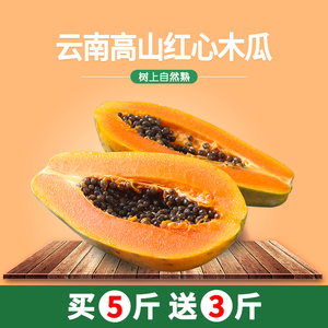 [Send 3 pounds and send 8 pounds in total] Yunnan Red Heart Rock Sugar Papaya is now picking fresh fresh fruit on the tree