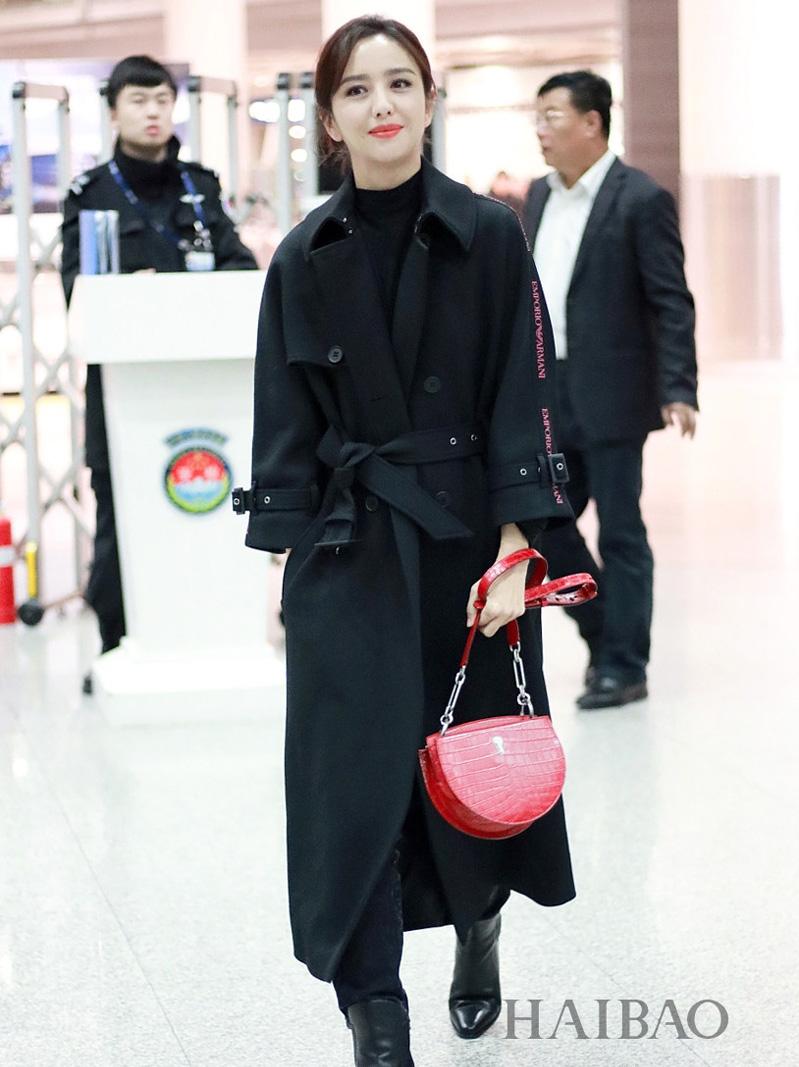 佟丽娅明星同款黑色风衣女长款修身显瘦系带秋冬外套大衣-靓品女装-
