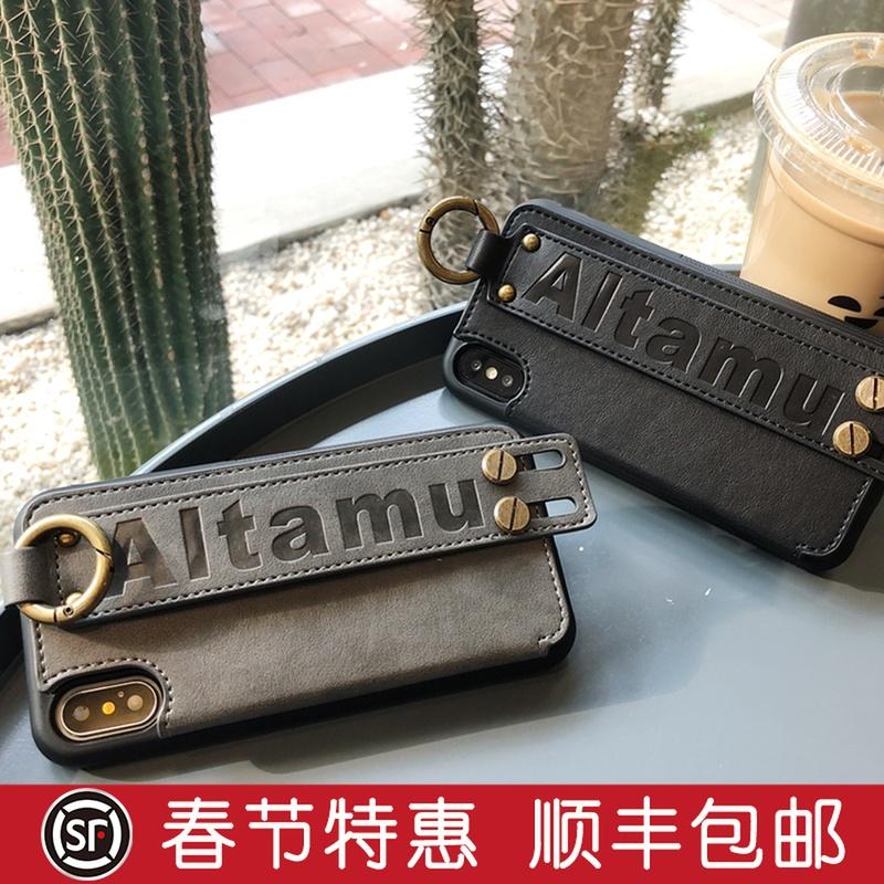 皮质苹果x手机壳iphonexs max简约商务6/7/8plus插卡腕带欧美风xr