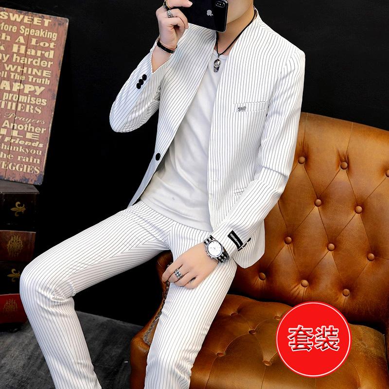 西装套装男士潮流条纹帅气单西裤子两件套造型师韩版修身型小西服