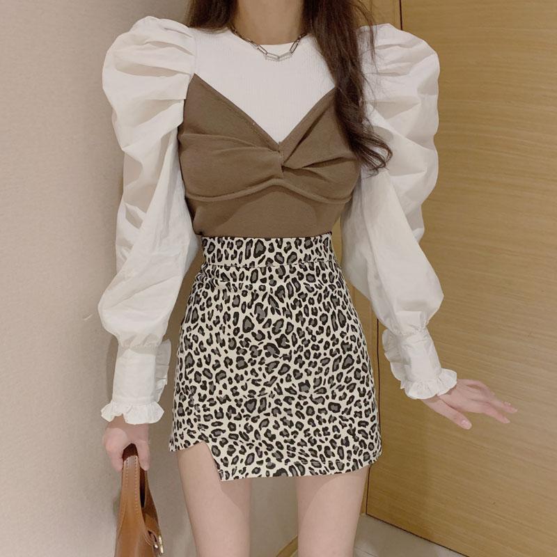实拍 设计感小众衬衫假两件泡泡袖时髦喇叭袖上衣+豹纹高腰短裙-发财服饰-