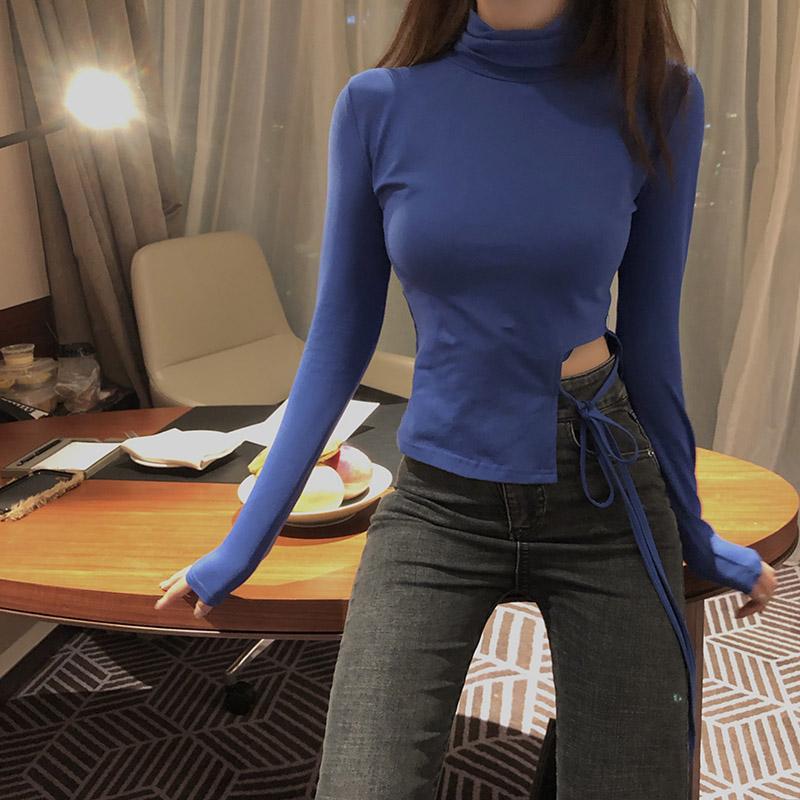 现货 实拍 时髦镂空 小心机显瘦内搭打底衫-发财服饰-
