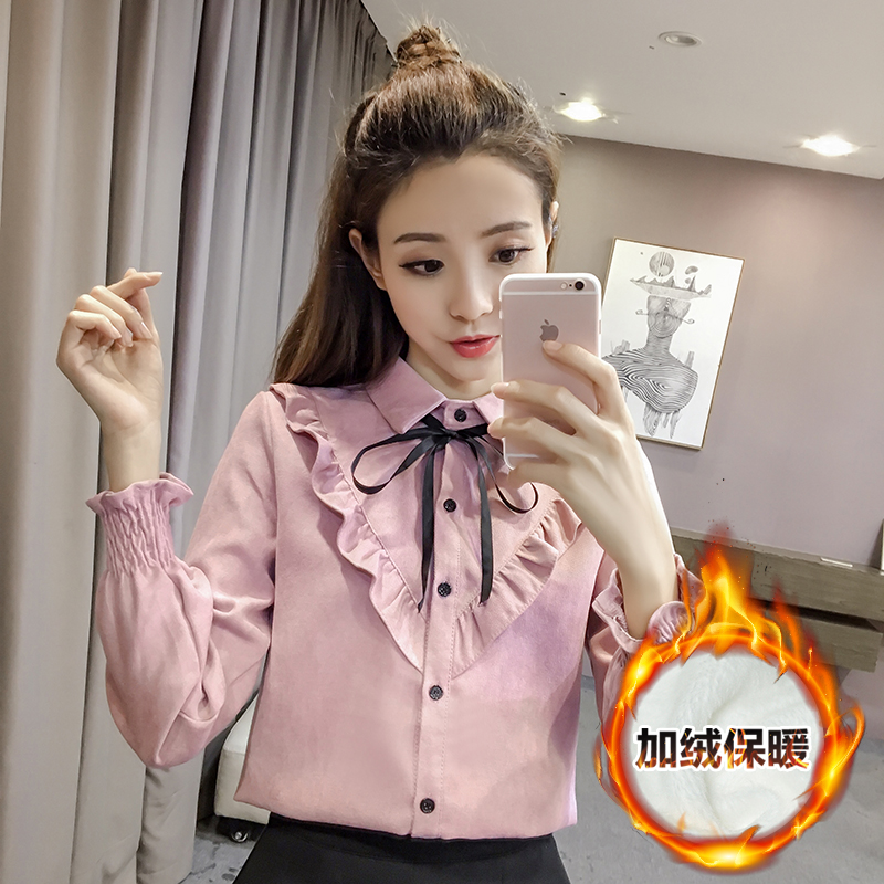 秋鼕韓版女裝打底加絨白襯衫女士長袖加厚甜美蝴蝶結繫帶保暖襯衫