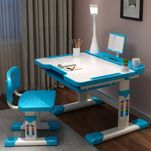 Children's study table home desk writing desk and chair set primary school desk simple desk and chair can be raised and lowered combination