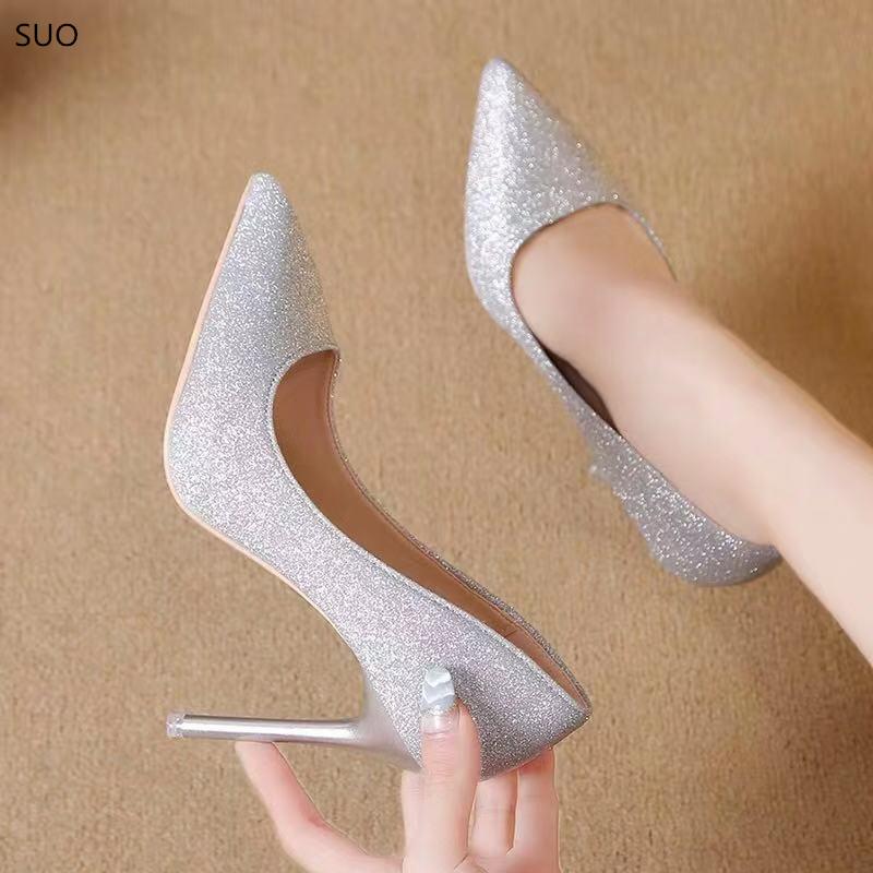 2020春夏季新款银色高跟鞋女百搭法式细跟浅口单鞋网红亮片少女鞋