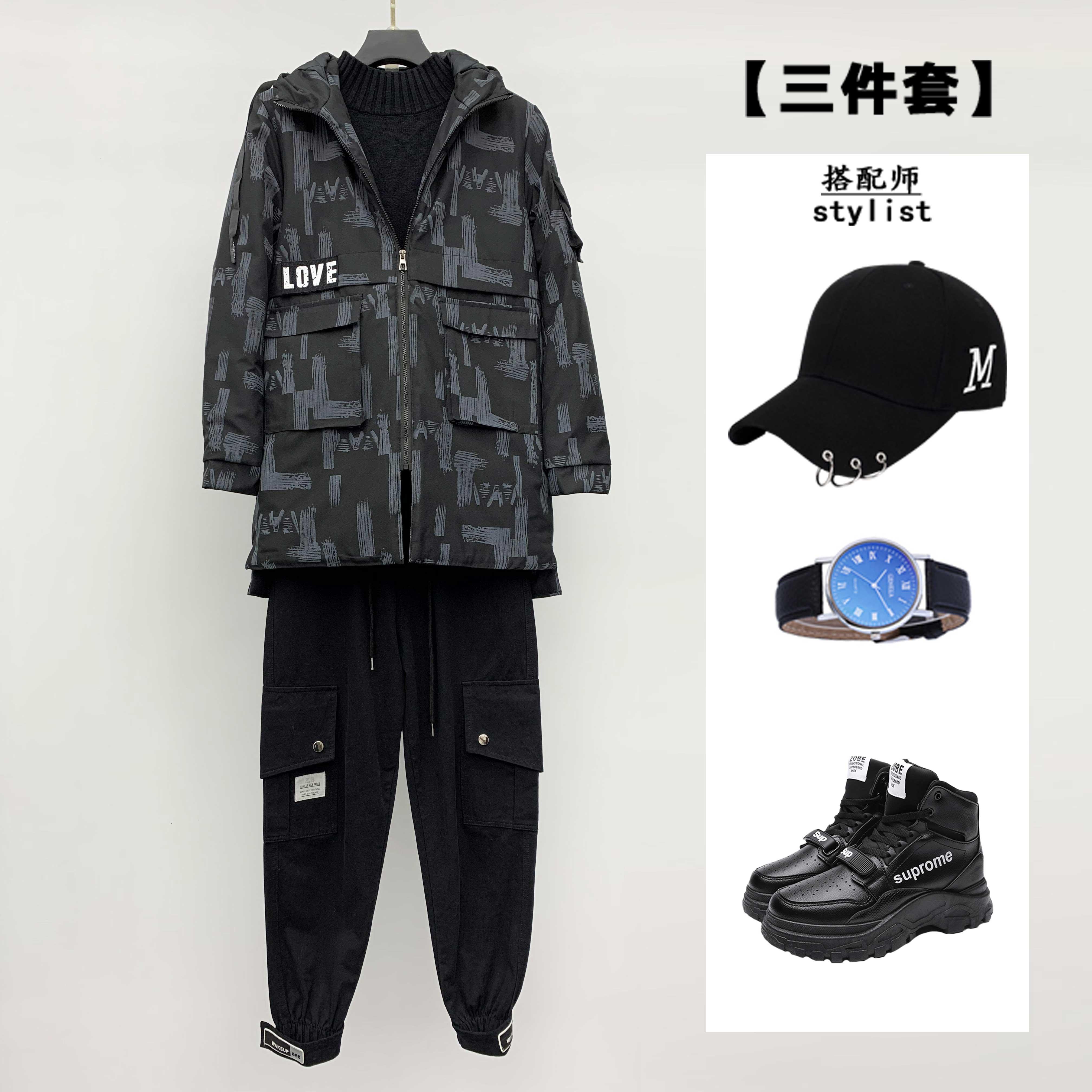 【三件套】男士休闲迷彩风衣+高领毛衣+休闲裤