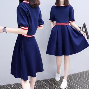 Summer sweet lady temperament clothing ladies casual sports denim shirt skirt with collar open dress