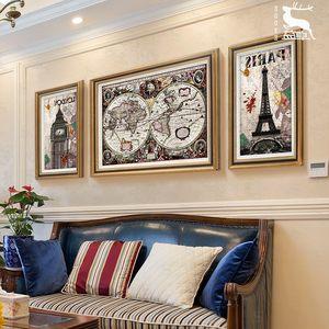 日本购YZ美式建筑风景客厅装饰画简美油画沙发背景三联画实木世界