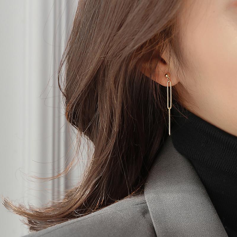 韩国气质耳环2019新款潮几何流苏耳坠长款显脸瘦耳饰品网红耳钉女图片