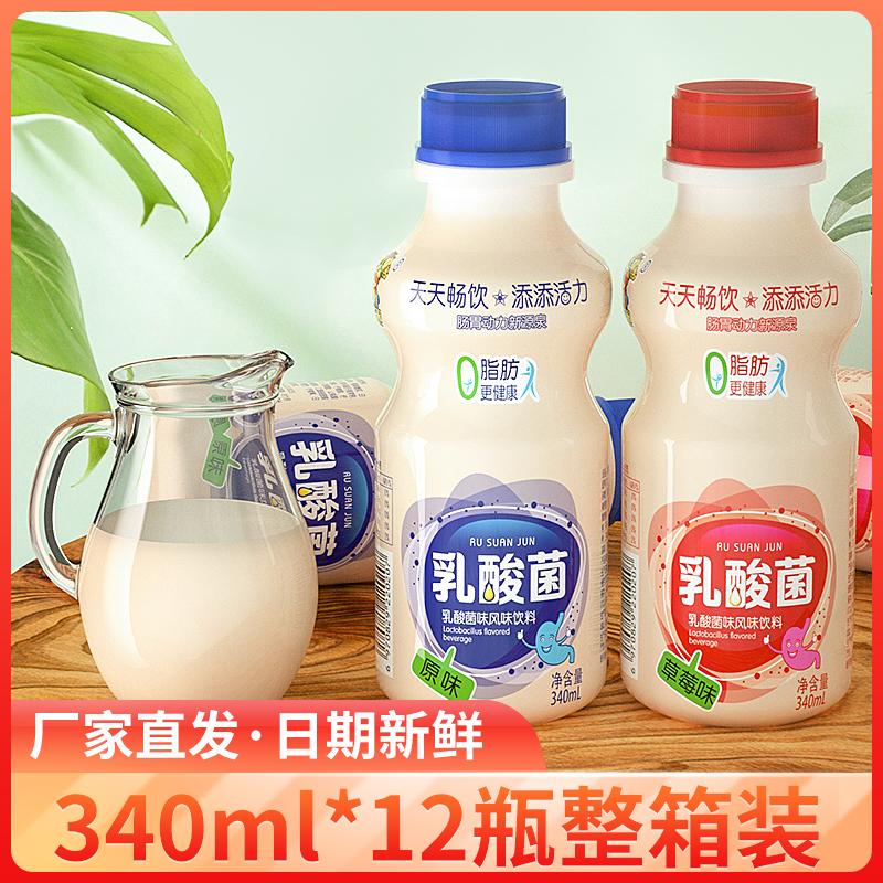 原味乳酸菌饮品340mlx12大瓶早餐酸奶整箱益生元风味饮品含乳饮料