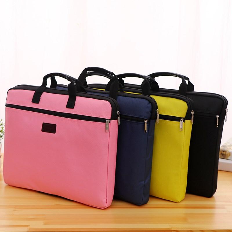 手提文件袋帆布A4办公拉链袋大容量男女多层资料袋公文包会议定制