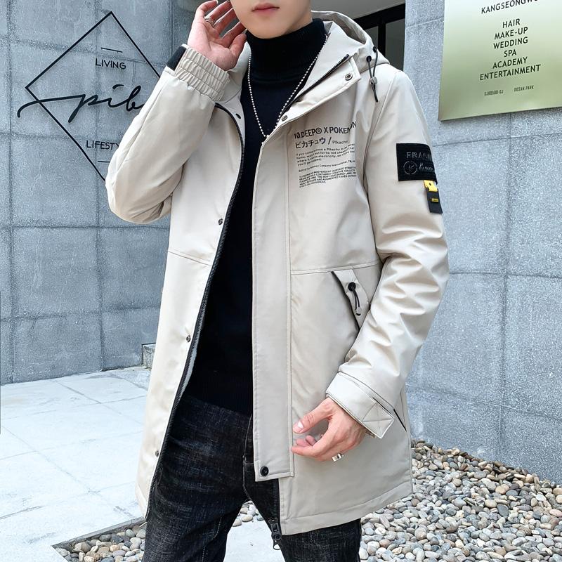 男青年连帽中长款风衣外套时尚印花夹克上衣男款衣服秋HX1718-P79