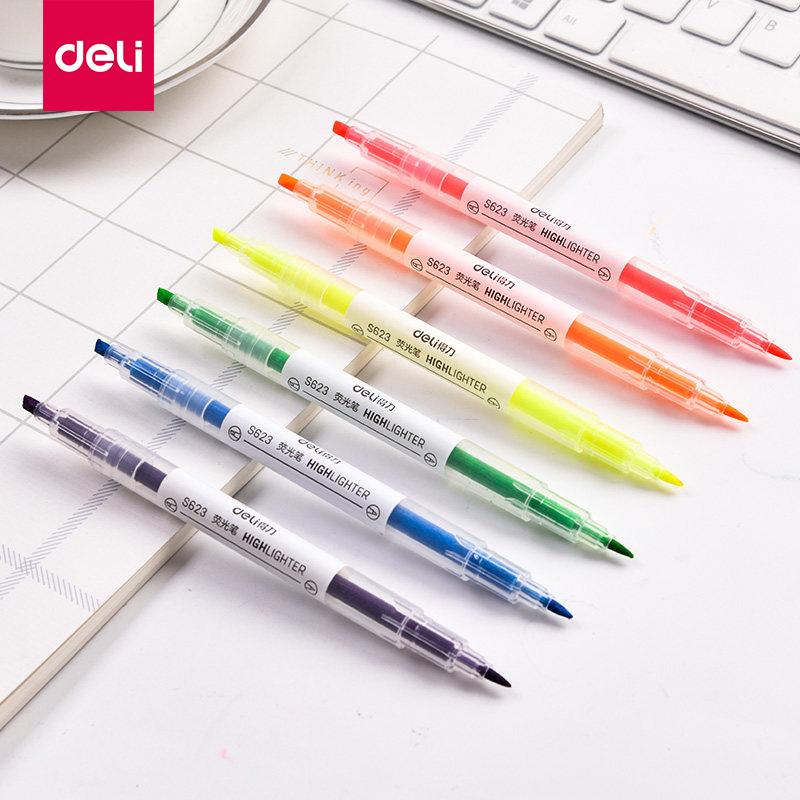 得力S623双头荧光笔标记笔学生用糖果色记号笔彩色笔写字笔6支/套