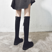 长筒靴女过膝高筒显瘦y17个子长靴16新款网红弹力瘦瘦靴平底秋冬