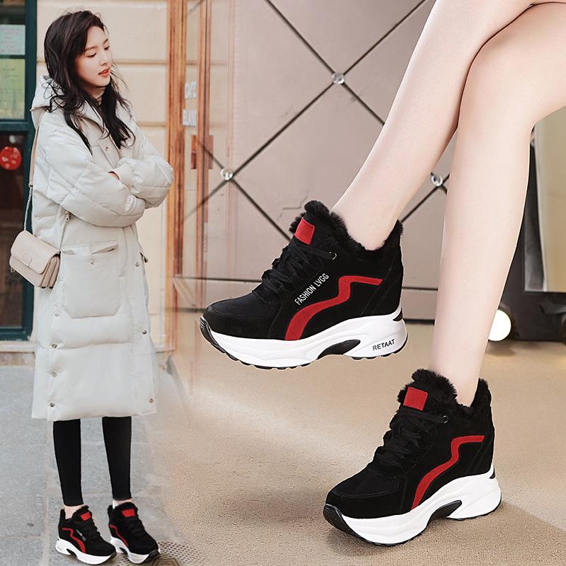 内增高女鞋2018新款加绒运动鞋百搭韩版小白女休闲鞋旅游棉鞋冬季