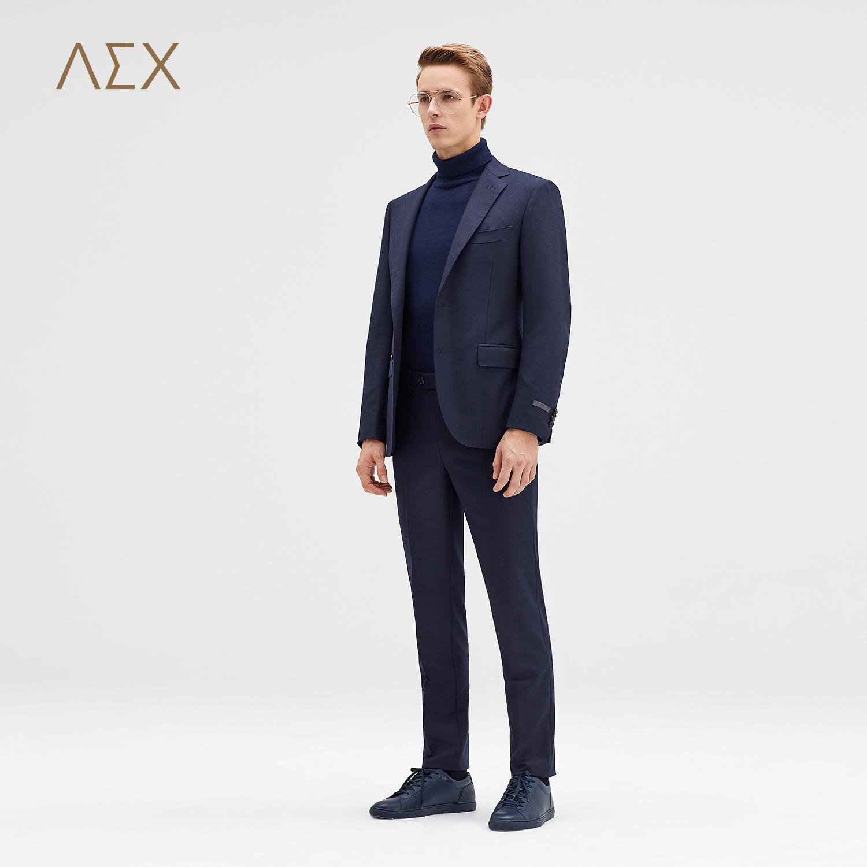AEX男装2017秋冬新款宝蓝色VBC面料羊毛西服套装上装手工西服