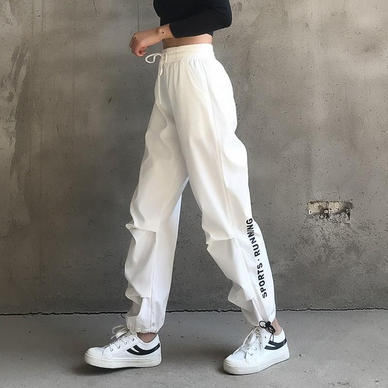 新字母运动裤女宽松弹力休闲跑步健身长裤收口束脚瑜伽裤大码高腰