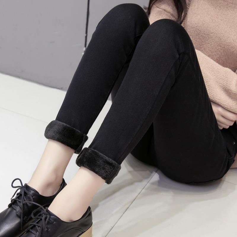 2017新款加絨牛仔褲女高腰鼕季小腳彈力加厚保暖黑色鉛筆長褲子女