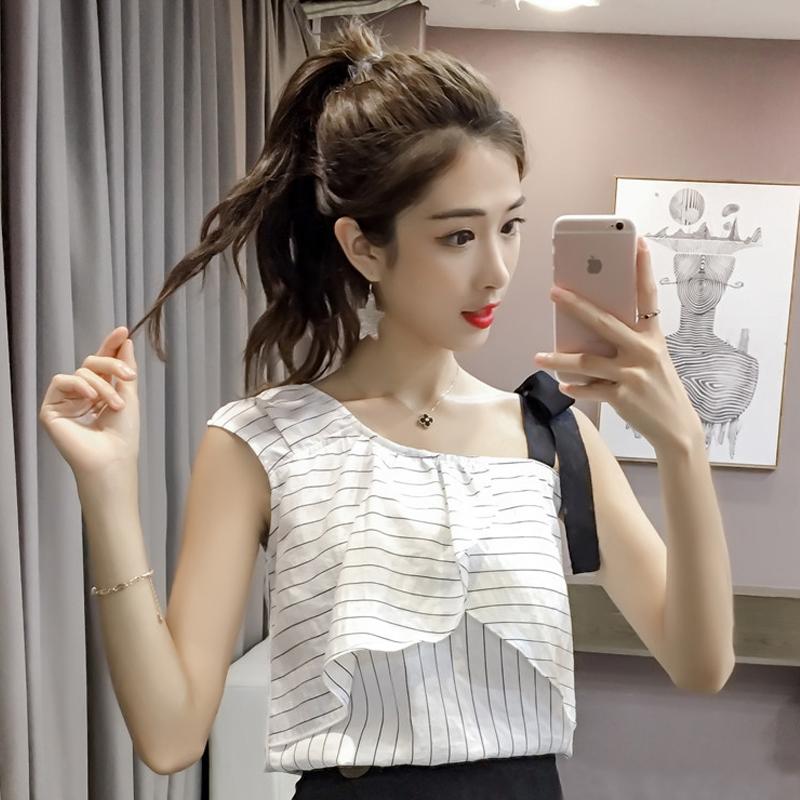 条纹露肩上衣女0128夏季新款荷叶边吊带小衫无袖不规则韩版雪纺衫
