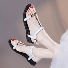 White sandals, fairies, New Size 34, summer flat sole, slope heel, maternity Roman shoes with temperament