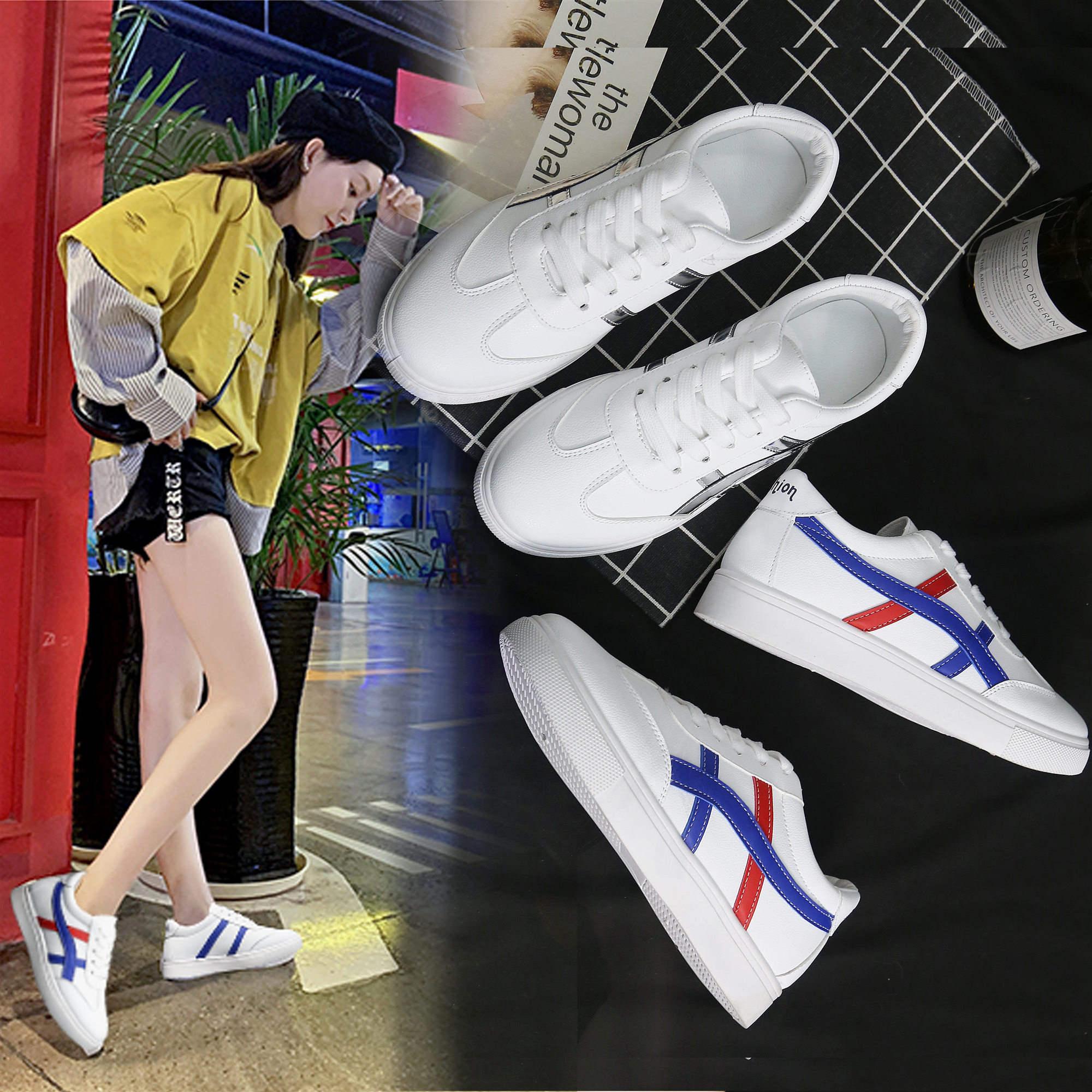 小白鞋女秋夏款2019新款尖头百搭休闲韩范儿女鞋学生皮面运动鞋