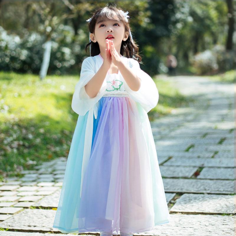 溪花记女童汉服中国风儿童春夏民国风连衣裙改良童装复古唐装襦裙