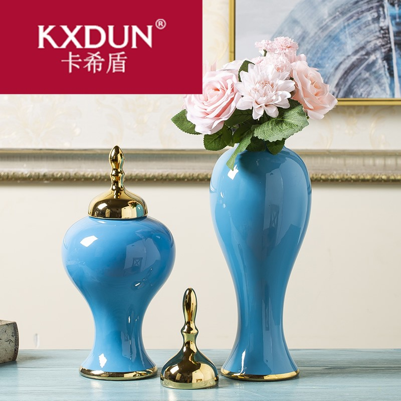 KXDUN陶瓷花瓶摆件欧式新干花插花瓷器将军罐带盖陶罐子XJ0528