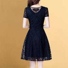 2021夏季短袖蕾丝裙子io90-40by中年女士妈妈显瘦夏天大码连衣裙