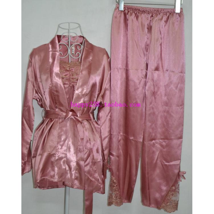 清仓蕾丝高贵浪漫性感睡衣 女士家居服吊带衫睡袍衣裤三件套装