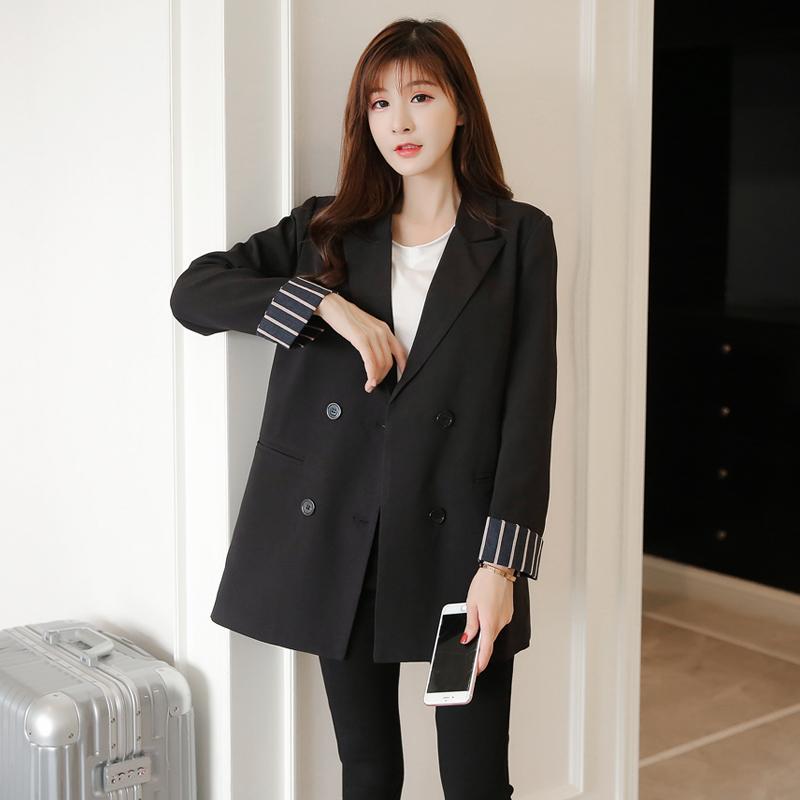 2020秋季实拍新款小西装女韩版中长款休闲长袖修身chic西服外套-正青春-