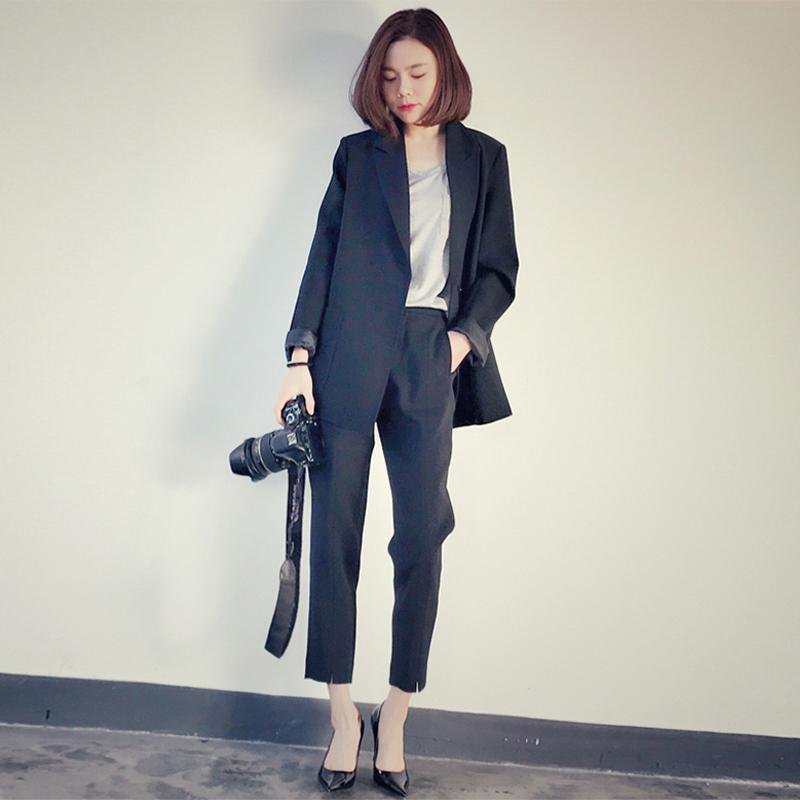 2020商务装女西服新款春秋韩版小西装外套宽松英伦风休闲套装正装-正青春-