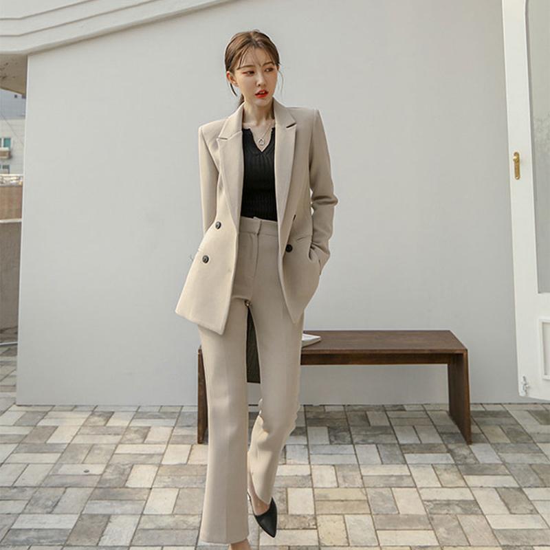 2020春秋新款网红西装套装女气质韩版干练OL职业面试正装收腰西服-正青春-