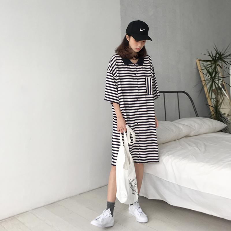 四喜家  18夏新/复古韩版开衫式polo翻领条纹口袋T恤裙连衣裙女款
