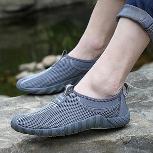 无鞋带网鞋男士一脚蹬懒人驾车板鞋运动休闲夏季网布潮流网眼透气