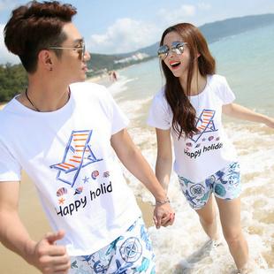 沙滩情侣装套装度假蜜月海滩短裤