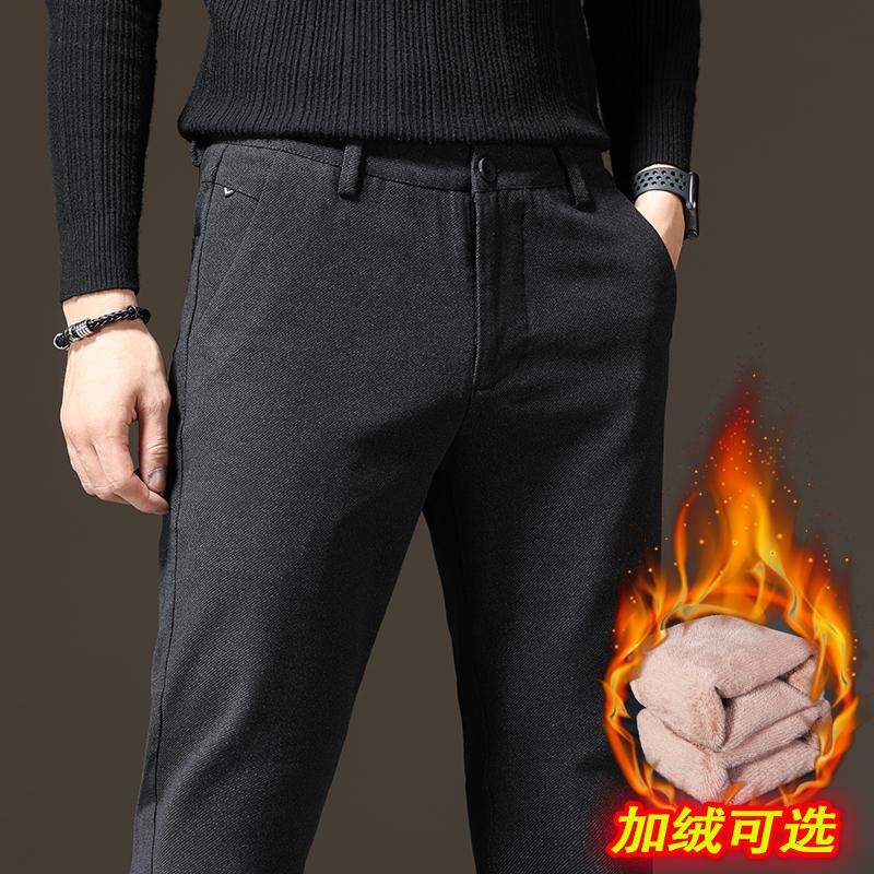 毛呢休闲裤男士秋冬季加绒加厚款百搭直筒宽松2019新款修身长裤子