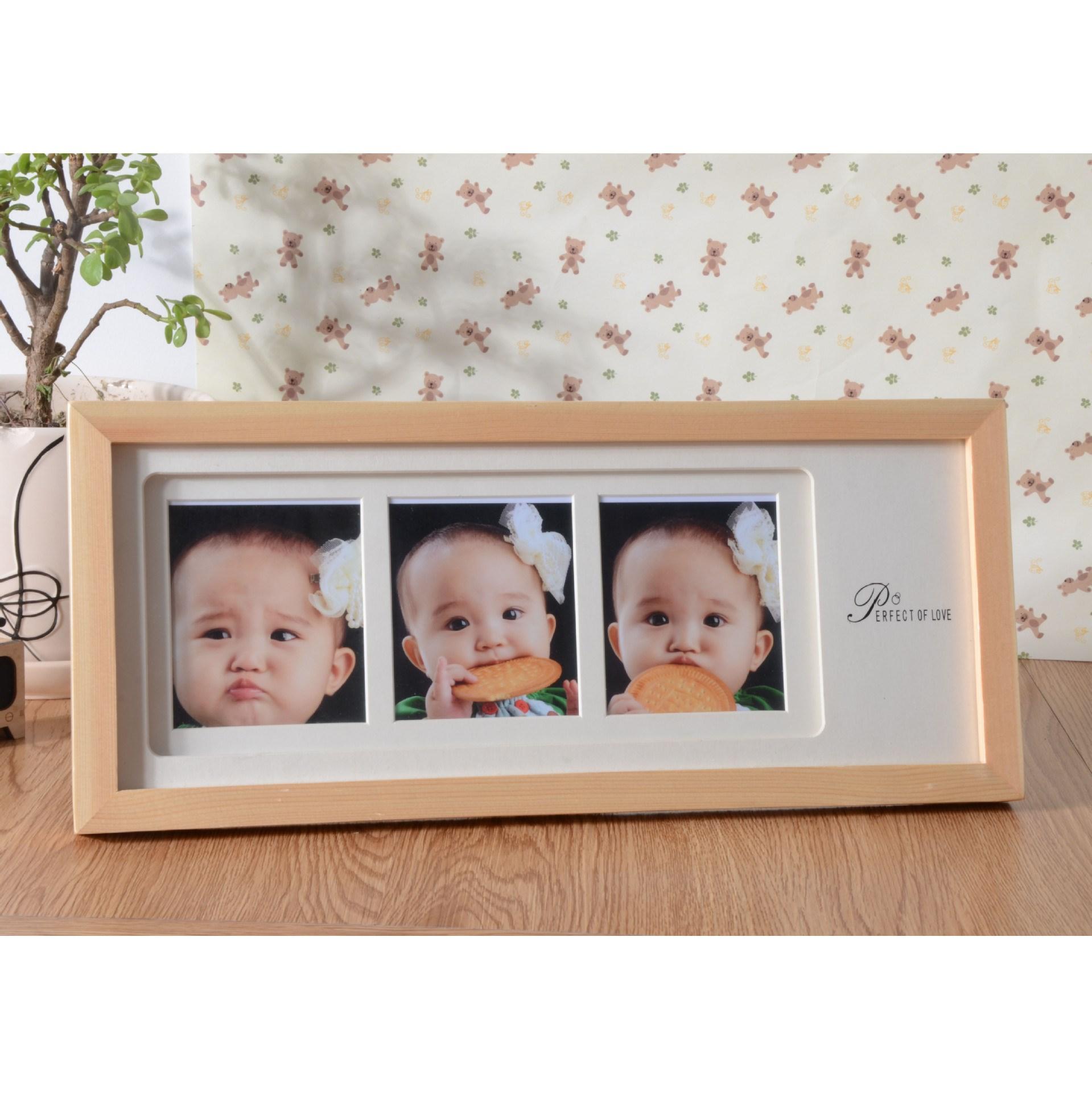 实木三连框高档韩式相框儿童相框摆台影楼文艺空间简约婚纱相架