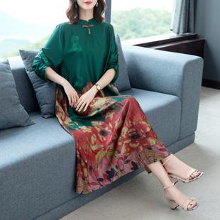 贵妇人品牌中老年女装新款连衣裙高贵50岁妈妈裙子复古典雅阔太太