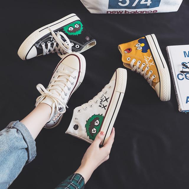 芬爱莎芝麻街帆布女鞋2019秋季高低板鞋学生韩版新款港风小白鞋潮