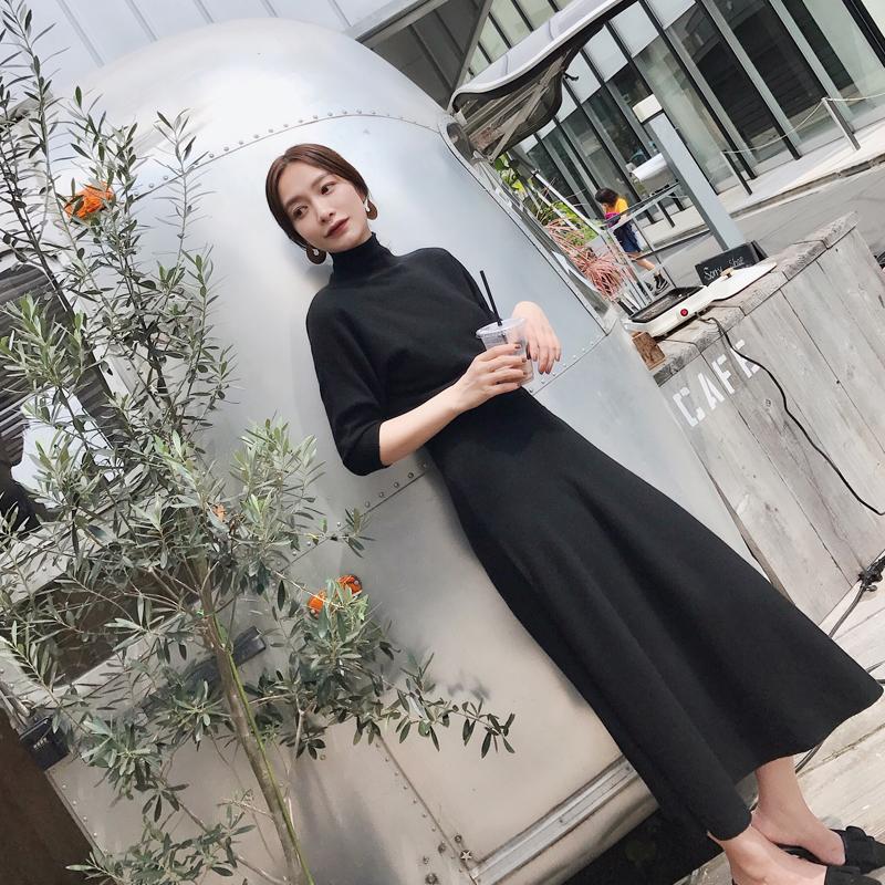 MLS2017秋冬新款 韩版半高领长袖长裙女黑色打底针织连衣裙小黑裙