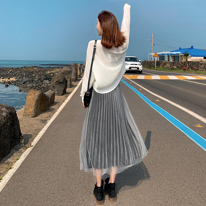 金丝绒半身裙子女秋冬季新款高腰一步裙中长款a字春秋网纱百褶裙