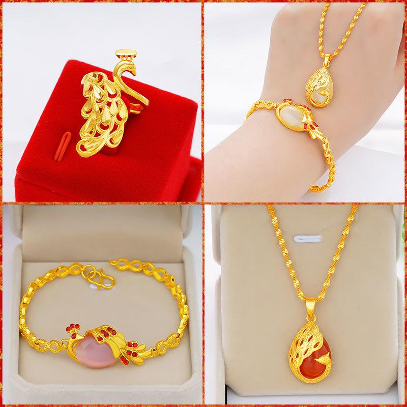 越南沙金孔雀气质项链套装女仿真黄金手链戒指饰品久不褪色首饰