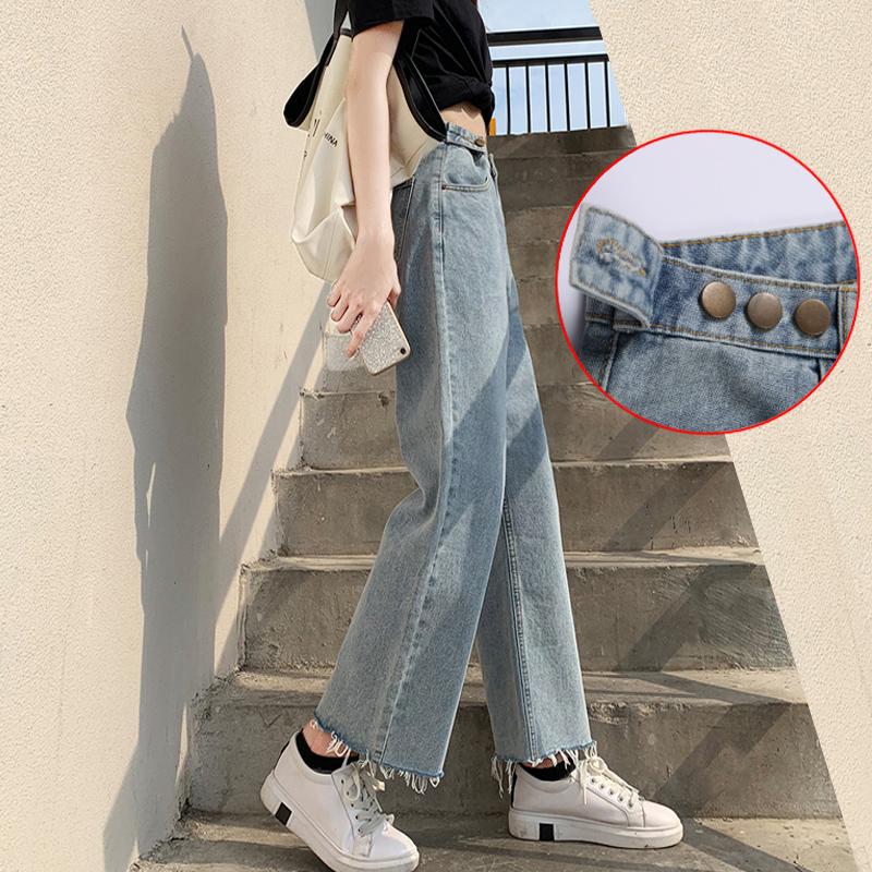 高腰阔腿牛仔裤女春秋季新款显瘦显高九分泫雅小个子宽松直筒裤子