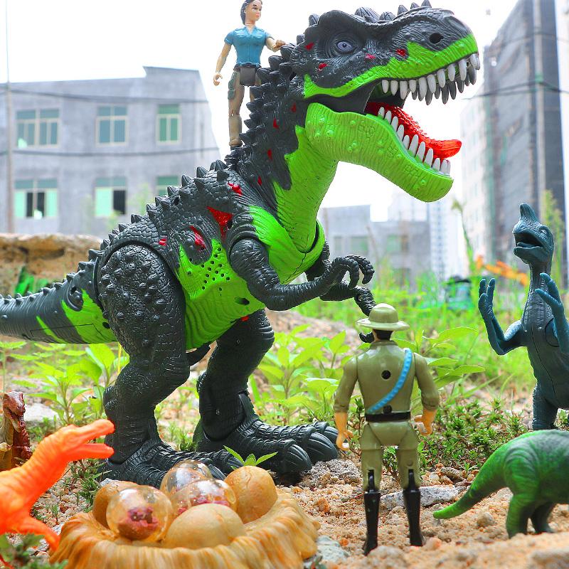 ✅大号恐龙玩具电动下蛋仿真动物遥控霸王龙超大会走儿童套装男孩