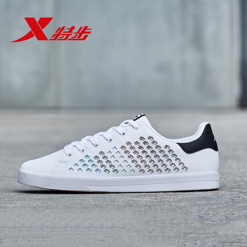 特步板鞋男2019春季时尚运动鞋系带小白鞋潮流鞋子新潮韩版休闲鞋
