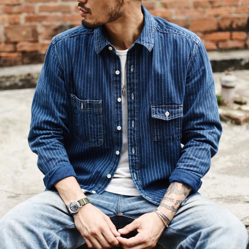 沾酱 赤耳拔染 圆点牛仔衬衣 男士长袖全棉纯棉纯色休闲衬衫 衬衣