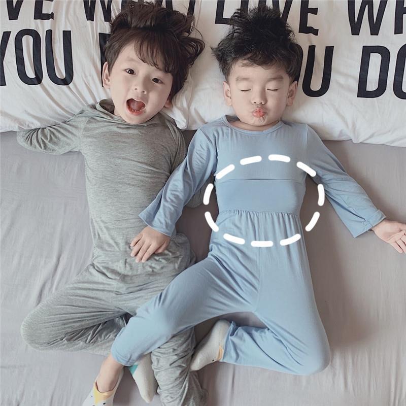 儿童睡衣纯棉高腰护肚春秋季长袖女莫代尔男孩男童宝宝女童套装男