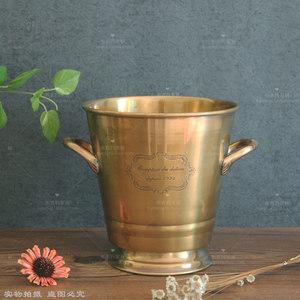 欧式印度进口纯黄铜手工冰桶香槟桶红酒桶吐酒桶冰粒酒吧装饰摆件