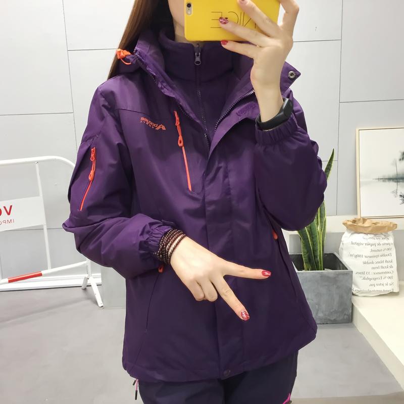 行走户外女式冲锋衣西藏两件套防风防水韩版登山服男三合一滑雪服